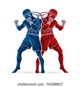 Muay Thai, Thai boxing standing action designed using grunge brush graphic vector