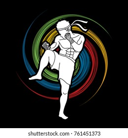 Muay Thai, Thai boxing standing ready to fight action designed on spin wheel background graphic vector