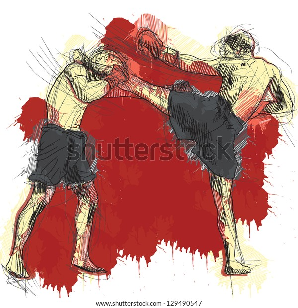 Muay Thai (combat martial art from Thailand) - Kickboxing (group of martial arts from Japan). /// A hand drawn illustration converted into vector. Vector is editable in 6 layers.