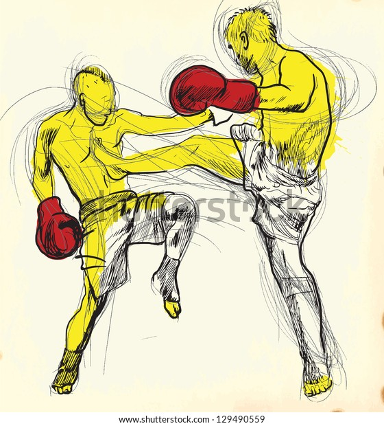 Muay Thai (combat martial art from Thailand) - Kickboxing (group of martial arts from Japan). /// A hand drawn illustration converted into vector. Vector is editable in 7 layers.