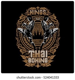 Muay thai. Illustration design t shirt.