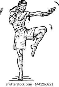 A Muay Thai kickboxer. Hand drawn vector illustration.