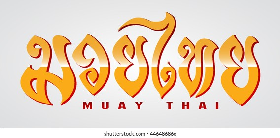 Muay thai letter on grey background