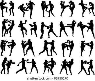 Muay Thai martial art vector illustration collection