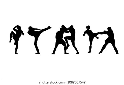 Muay thai and mma fighting poses