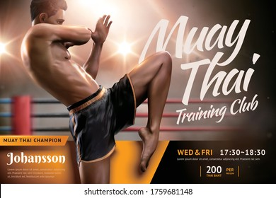 Muay Thai training camp ad design with handsome man doing flying knee in front of boxing ring, 3d illustration template