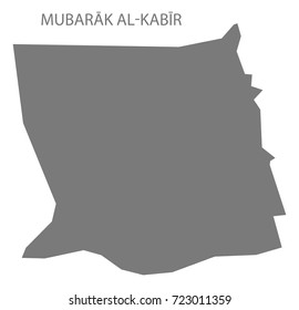 Mubarak al-Kabir province map of Kuwait grey illustration silhouette shape