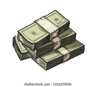 Much money, wads of cash. Earnings, finance, dollars vector illustration