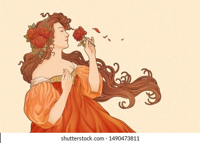 Mucha goddess holding roses in retro art nouveau style