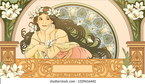 Mucha style goddess holding freesia and leaning on beautiful balcony