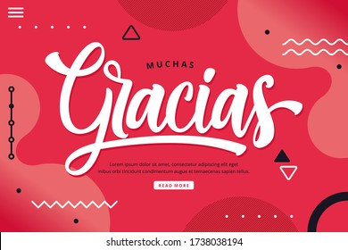 muchas gracias lettering background (thank you in spain language)