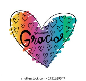 Muchas Gracias / Thank you very much in Spanish language / Design for greeting cards, prints, posters etc
