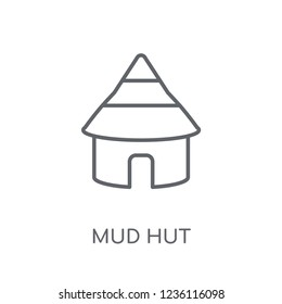 Mud hut linear icon. Modern outline Mud hut logo concept on white background from Culture collection. Suitable for use on web apps, mobile apps and print media.