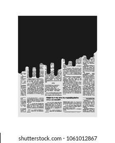 Mud in newspaper. Bad news. Black page of paper. Slander
