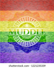 Muddle emblem on mosaic background with the colors of the LGBT flag