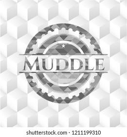 Muddle grey emblem with geometric cube white background