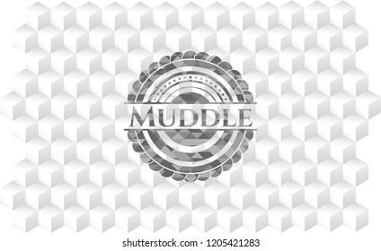 Muddle grey emblem. Retro with geometric cube white background
