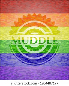 Muddle on mosaic background with the colors of the LGBT flag