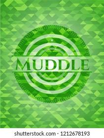 Muddle realistic green emblem. Mosaic background