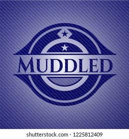 Muddled badge with denim texture
