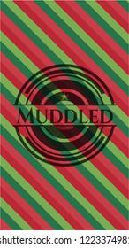 Muddled christmas badge background.
