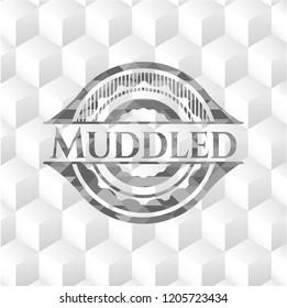 Muddled grey badge with geometric cube white background
