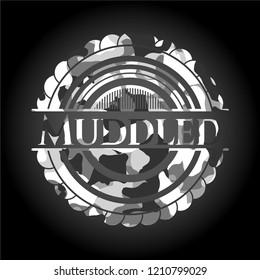 Muddled grey camouflage emblem