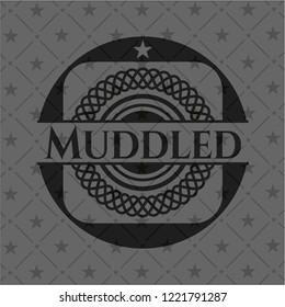 Muddled retro style black emblem