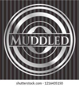 Muddled silver shiny badge