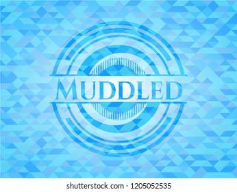 Muddled sky blue emblem with triangle mosaic background