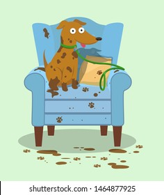 A muddy dog sits on a ruined wingback chair.