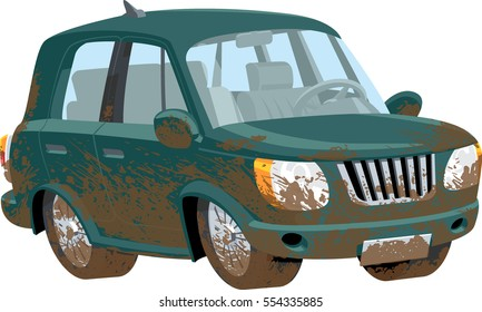 Muddy off road vehicle. Global color used.