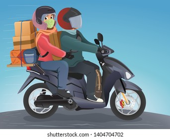 Mudik, is an Indonesian term for the activity where migrants workers return to their hometown in Lebaran (Eid al-Fitr). I this illustration the couple rides a motorbike to the hometown - Vector