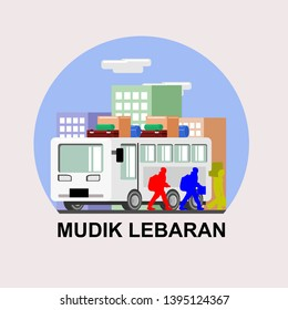 Mudik Lebaran, is an Indonesian term for the activity where migrants workers return to their hometown in Lebaran (Eid al-Fitr). Suitable for greeting card, poster and banner