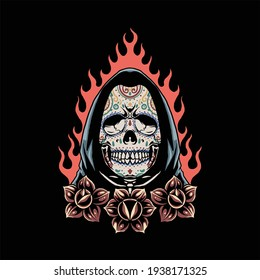 muerte skull tattoo vector design