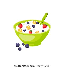 Muesli With Berry And Milk,  Based Product Isolated Icon