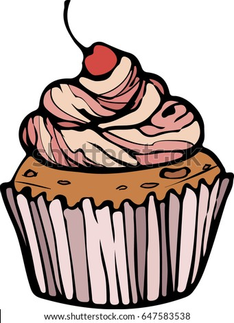 Muffin Cherry Vector Graphics Stock Vector Royalty Free 647583538