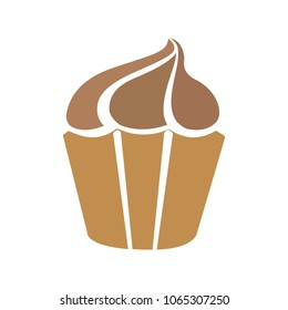 Muffin -  cupcake illustration, vector dessert - delicious sweet, bakery symbol