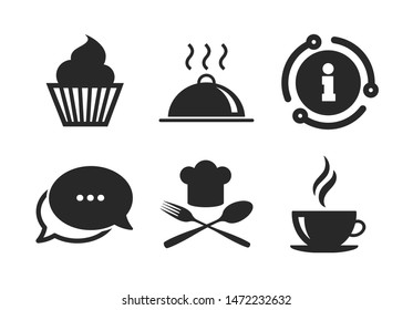 Muffin cupcake symbol. Chat, info sign. Food and drink icons. Fork and spoon with Chef hat sign. Hot coffee cup. Food platter serving. Classic style speech bubble icon. Vector