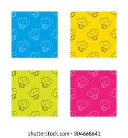 Muffin icon. Cupcake dessert sign. Bakery sweet food symbol. Textures with icon. Seamless patterns set. Vector
