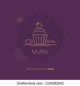 Muffin icon with strawberries for restaurants and cafes.