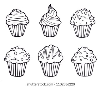 Muffin set simple illustration .  Cupcake collection with different flavors . Outline hand drawn 6 muffin cookies .