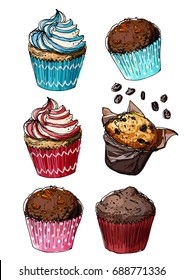 Muffins drawn line is not white. Sketch Christmas sweets. Sketch of food. Cakes, cupcakes.