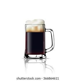 Mug of beer, black. Vector