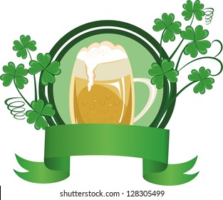 Mug of beer decorated with a clover and banner