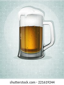 Mug of beer with foam and bubbles. Oktoberfest abstract background