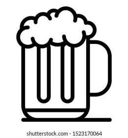 Mug of beer with foam icon. Outline mug of beer with foam vector icon for web design isolated on white background