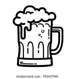 mug of beer with foam vector outline icon