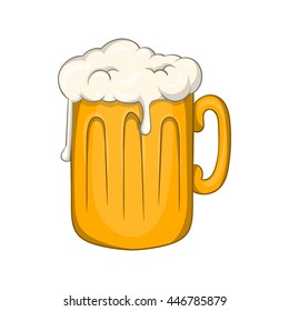 Mug with beer icon in cartoon style isolated on white background. Alcoholic beverages symbol