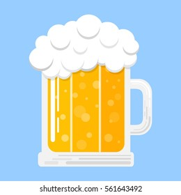 Mug of beer isolated on blue background. Vector.